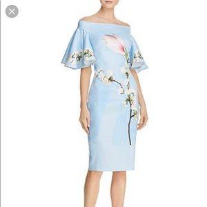 Ted Baker Lauraen Off Shoulder Blue Harmony Dress